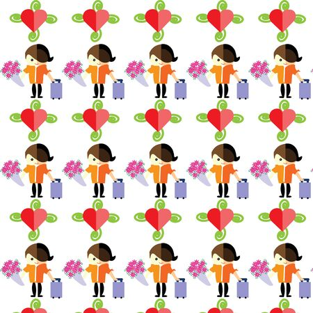 carry on: man carry luggage and flowers, with love, vector, pattern