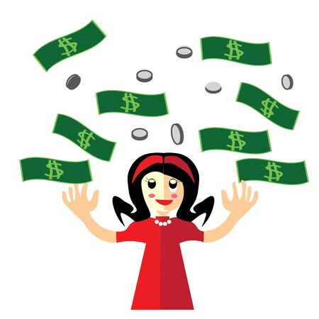 rich people: lady in red with flowing money, banknote, coins, vector, cartoon