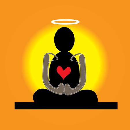 merit: meditation, buddism, zen, red, heart, vector, symbol, illustration, Illustration