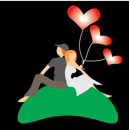 cuddle: couple, in love, sitting, watching, carry red heart balloons, vector,