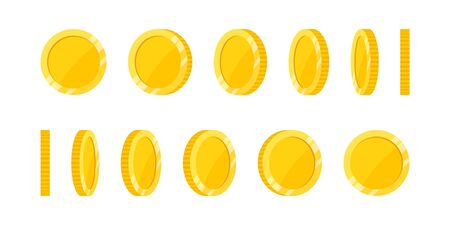 Spin gold coin on white background, set of rotation icons at different angles for animation. Flat vector illustration.