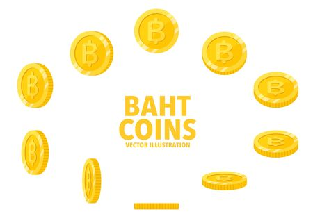 Thai Baht sign gold coin isolated on white background, set of flat icon of coin with symbol at different angles.
