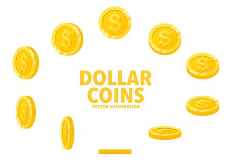 Dollar sign gold coin isolated on white background, set of flat icon of coin with symbol at different angles.