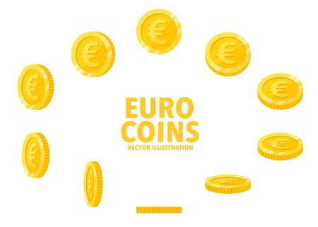 Euro sign gold coin isolated on white background, set of flat icon of coin with symbol at different angles.