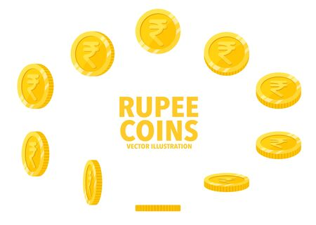 India Rupee sign gold coin isolated on white background, set of flat icon of coin with symbol at different angles.