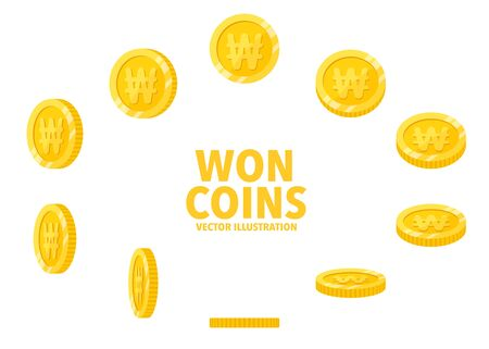 Korea Won sign gold coin isolated on white background, set of flat icon of coin with symbol at different angles. Иллюстрация