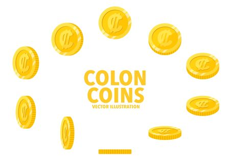 Costa Rica Colon sign gold coin isolated on white background, set of flat icon of coin with symbol at different angles.