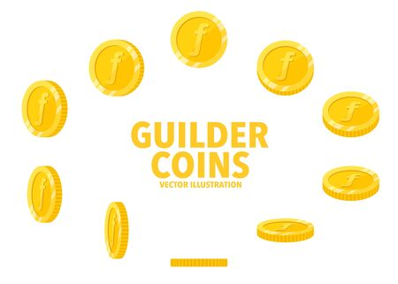 Netherlands Guilder sign gold coin isolated on white background, set of flat icon of coin with symbol at different angles.