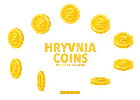 Ukraine Hryvnia sign gold coin isolated on white background, set of flat icon of coin with symbol at different angles.