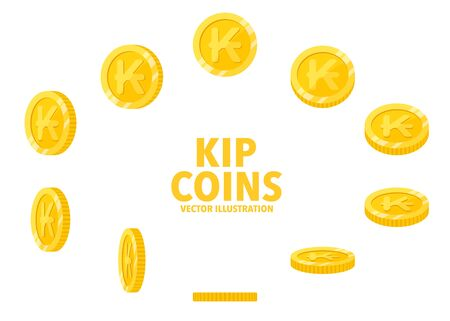 Laos Kip sign gold coin isolated on white background, set of flat icon of coin with symbol at different angles. Иллюстрация