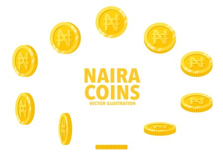 Nigeria Naira sign gold coin isolated on white background, set of flat icon of coin with symbol at different angles.
