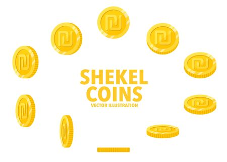 Israel Shekel sign gold coin isolated on white background, set of flat icon of coin with symbol at different angles.