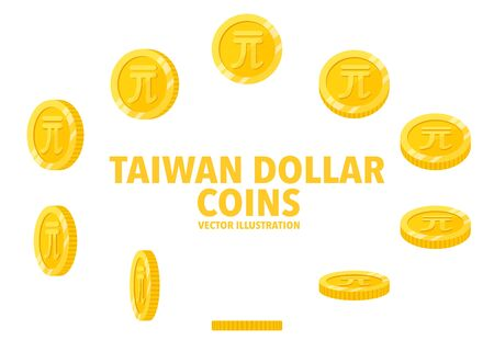 Taiwan New Dollar sign gold coin isolated on white background, set of flat icon of coin with symbol at different angles. Иллюстрация