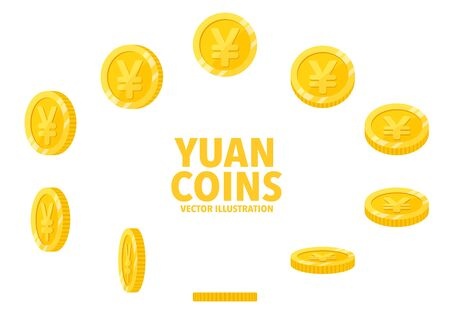 China Yuan sign gold coin isolated on white background, set of flat icon of coin with symbol at different angles. Иллюстрация