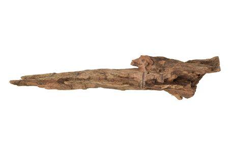 Driftwood aged wood isolated on white background. Piece of driftwood driftwood close up for aquarium. Stock Photo