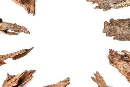 Driftwood/ aged wood isolated on white background.