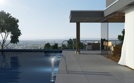 Modern house with pool and beautiful view
