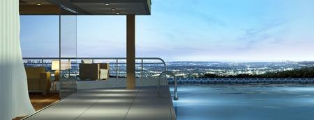 Casa moderna con piscina y hermosas vistas Foto de archivo