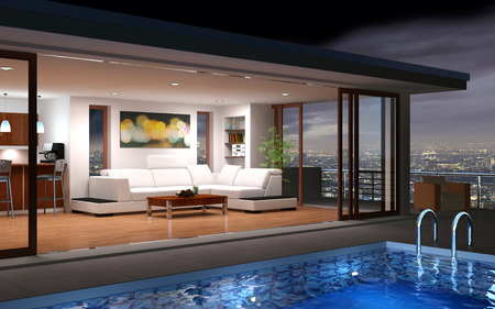 living room window: Modern house with pool and beautiful view