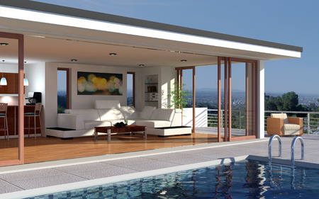 modern living room: Modern house with pool and beautiful view