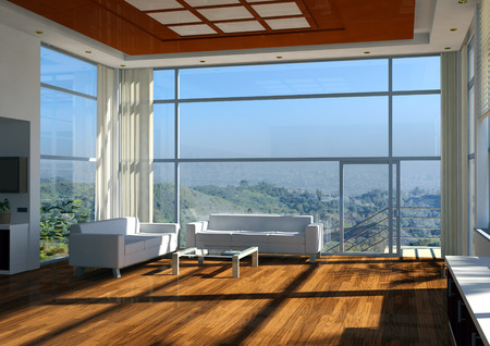 Modern apartment interior with beautiful view