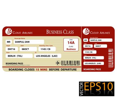 Boarding Pass Business Class Standard-Bild - 25022350