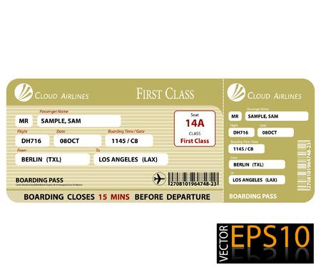 Documento de embarque de primera clase Foto de archivo - 25022348