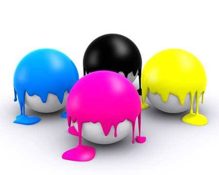 printshop: Four CMYK color balls