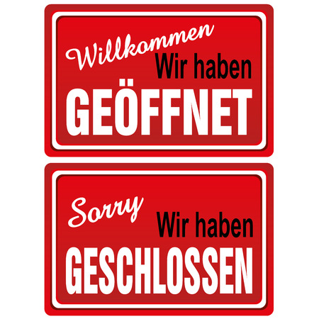 Open - Closed Metal Signs Vector