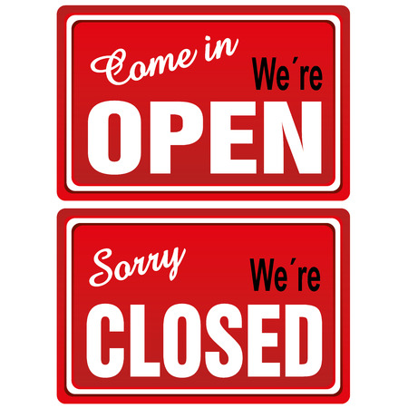 sign store: Open - Closed Metal Signs