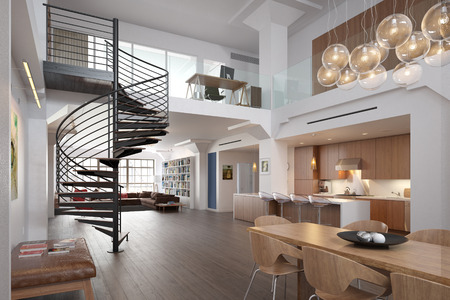 spiral staircase: Modern Loft Stock Photo