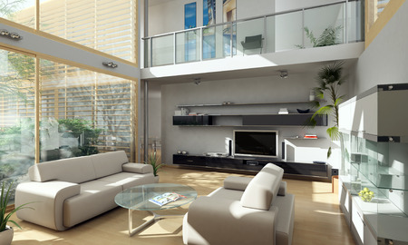 modern living room: Modern House Stock Photo