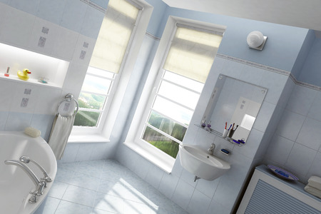wet cleaning: Modern Bathroom