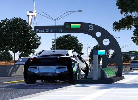 electric car: Modern E-Power Station