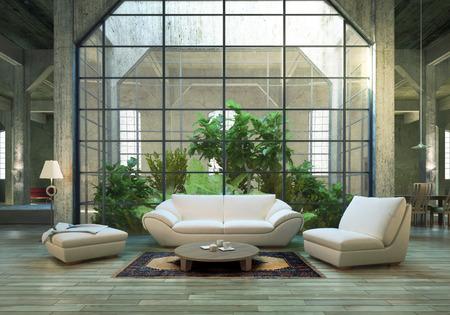 penthouse: Modern Loft Stock Photo