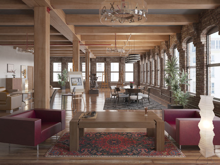 modern living room: Modern Loft Stock Photo
