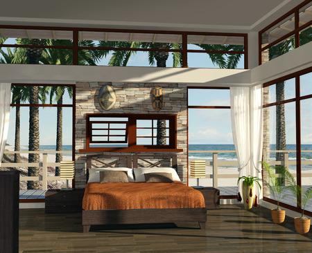 Moderne slaapkamer op het strand