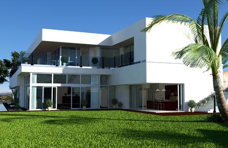 penthouse: Modern House Stock Photo
