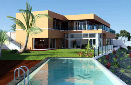 3d swimming pool: Modern House with Pool