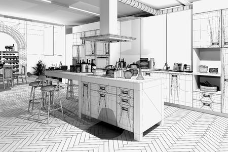 Moderne Küche / 3D-Drahtmodell Standard-Bild - 34801031