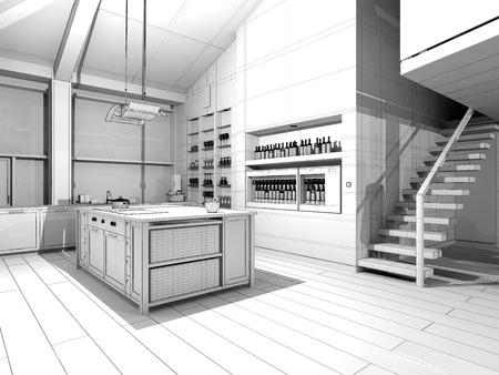 penthouse: Modern Kitchen  3D wireframe model