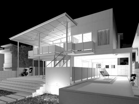 swimming pool home: Modern House  3D wireframe model Stock Photo