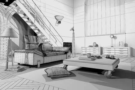 modern living room: Modern Loft  3D wireframe model