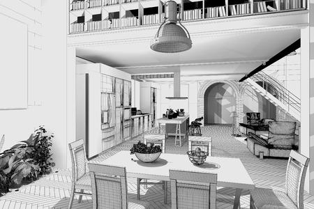 loft interior: Modern Loft  3D wireframe model