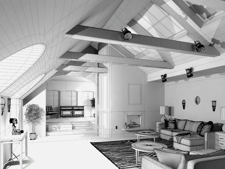 penthouse: Modern House  3D wireframe model Stock Photo