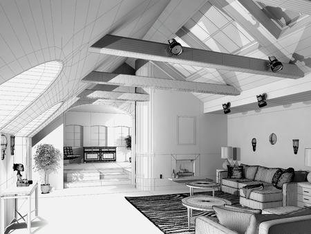Modern House  3D wireframe model 版權商用圖片