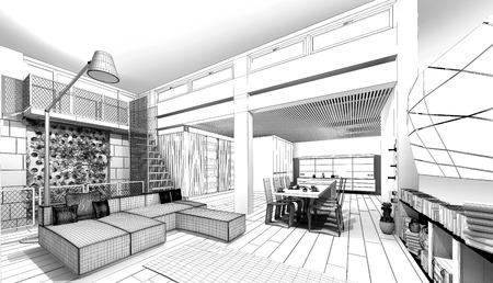 modern living room: Modern Loft  3D wireframe model