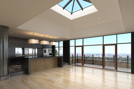 penthouse: Empty penthouse with Kitchen and terrace
