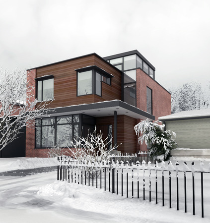 luxury home exterior: Modern House in Winter