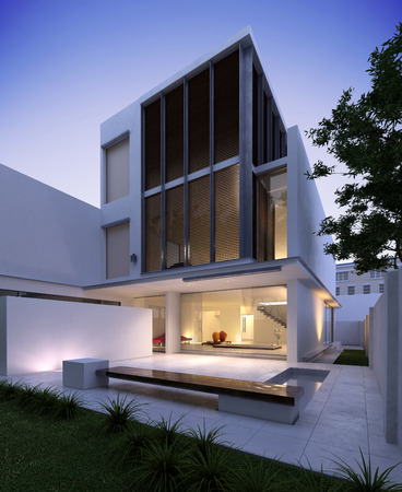 contemporary house: Modern House Stock Photo
